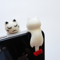 SALE 80-20%OFF:Cute White Cat with a red bow on the tale // iPhone Plug . Phone Charm . Phone Plug . Dust Plug - girly, kawaii