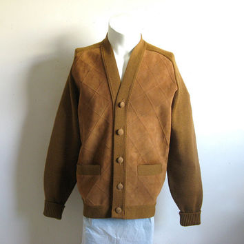 Vintage 1970s Suede Cardigan Saddle Brown Leather Knit Mens Sweater Medium