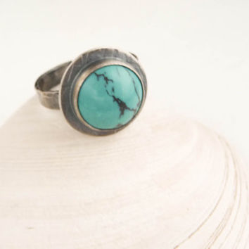 Turquoise and Silver Ring - Handmade Sterling silver ring - size 8 - ready to ship