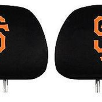 "San Francisco Giants ""SF"" 2-pack Black Elastic Auto Head Rest Covers Baseball"