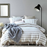 3 Piece Chambray Striped Organic Linen Duvet Cover Sets With Tye Enclosures in 15 Designs