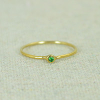 Tiny Gold Filled Emerald Ring
