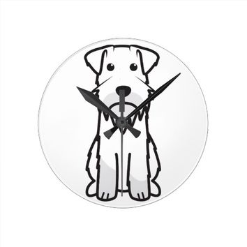 Miniature Schnauzer Dog Cartoon Round Clocks