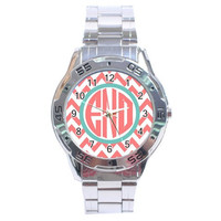 Personalized Watch Monogrammed Jewelry Ladies Watch Boyfriend Watch Custom Stainless Steel Boutique Watch Preppy Chevron