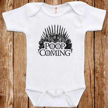 Game Of Thrones Baby Parody Funny Infant Poop Is Coming Bodysuit One Piece Clothes Romper Joke Boy Girl  Fun Geek Adorable Cute Shower Gift