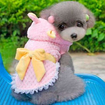 Minisoya Cute Pet Puppy Flannel Hoodie Coat Clothes Dogs Bow Costume Apparels Winter Warm Hooded Jacket Sweet Lace Dress
