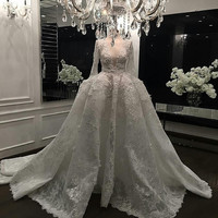 2016 Elegant Lace Bridal Dress Vestido Casamento V-Neckline Appliques Ball Gowns Long Sleeve Muslim Wedding Dress Real Photo