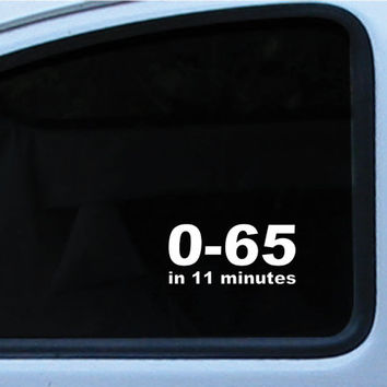 Volkswagen VW 0-65 in 11 minutes Die Cut Vinyl Decal Sticker in multiple of different colors