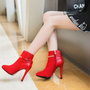 Suede Pointy Toe Stiletto Heel Metal Buckle Side Zipper Ankle Boots
