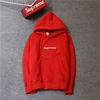 Supreme tide card plus cashmere classic BOX embroidery matcha green thin sweater coat men's hooded sweater ladies hoodie Black - red letter