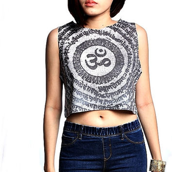 Om Ohm Hindu  Crop Top Tank Shirt Cropped Tops S M L