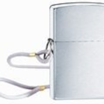 Zippo Brush Chrome Lighter with Loop and Lanyard