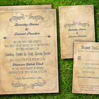 Vintage Victorian Floral Elegant Customizable Wedding Invitation and RSVP Card Suite - Double Sided DIY Printable