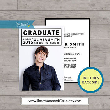 Minimalist Graduation Party Invitation, Photocard Graduation Invitation, Graduation Announcement, Graduation Printable, Senior Graduation
