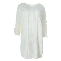 Minkpink Womens Cable Knit Textured Tunic Sweater