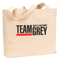 "Team Grey Canvas Jumbo Tote Bag 18""w x 11""h"