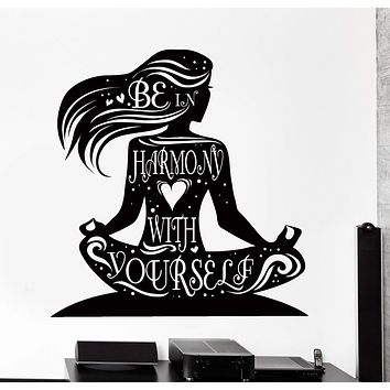 Wall Vinyl Decal Yoga Quote Be In Harmony With Yourself Buddha Home Decor Unique Gift z4198
