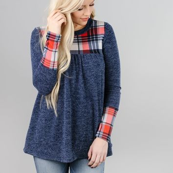 Plaid Detail Baby Doll Top
