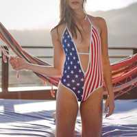 Sexy One-piece Suits Women's One Pieces American Flag Print Deep V-Neck Halter Swimsuit Bikini Swimwear Bathing Suits Bikinis