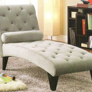 A.M.B. Furniture & Design :: Living room furniture :: Sofas and Sets :: Chaise loungers :: Gray velour fabric upholstered tufted chaise lounger with black finish wood accents