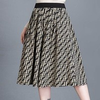 FENDI Autumn Winter Fashionable Women Casual F Letter Jacquard High Waist A-Line Skirt
