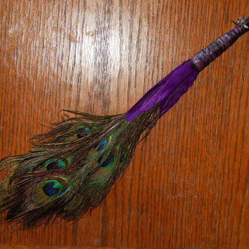 Feather Besom Broom or Smudge Wand - Peacock Feathers w/ Tibetan Silver Fairy Faerie Charm & Genuine Amethyst - Wiccan Besom - Occult Tools