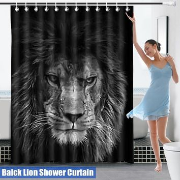 150x180cm Fashion Decor Black Lion Skin Shower Curtain Waterproof Bath Curtain