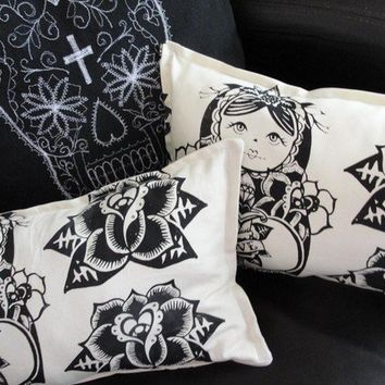 Love Russian Doll and Rose Pillow/Cushion by wengergirl on Etsy