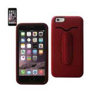 REIKO IPHONE 6 PLUS HYBRID HEAVY DUTY CASE WITH BENDING KICKSTAND IN RED