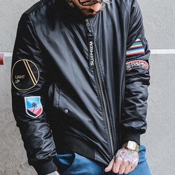 Autumn and winter tide brand retro embroidery thick baseball clothing MA1 Air Force pilot jacket jacket male coat
