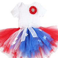 Girls Fourth of July Outfit - Fourth of July Tutu - Toddler - Baby Girl - Red White and Blue Star Tutu - July 4th Romper - Parade - Pageant