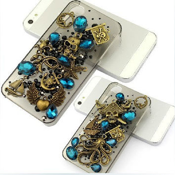 3d iphone 5 case skull iphone 4 4s case bling by Luxuryphonecase88