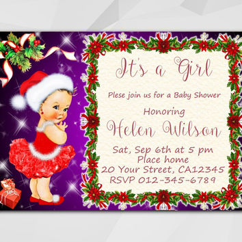 Christmas Baby Shower invitation, Editable PDF, Instant Download. Vintage Baby Girl
