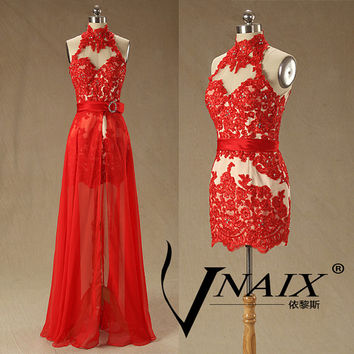 High Neck Open Back Party Dress Long Formal Crystal Red Lace Prom Dresses With Removable Skirt 2014 Evening Dresses