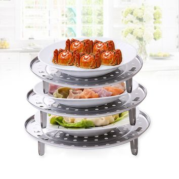 Stainless Steel Steamer Rack Insert Stock Pot Steaming Tray Stand Cookware Tool Microondas Rack Kitchenware