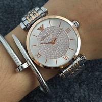 ARMANI  Woman Men Fashion Print Watch Business Watches Wrist Watch Rose golden+Sliver Watchband G-Fushida-8899