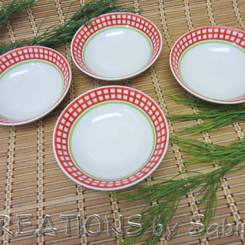 Rosenthal Casual Bowls Orchard Collection, Set of 4, Made in Germany, Designers Guild China, white red green Vintage FREE SHIPPING 110