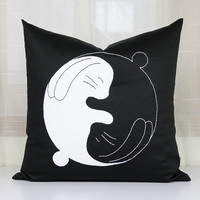 Cute baby rabbit cushion covers,Yin-Yang pillowcase,Handmade embroidered pillow cases,Hugging rabbit pillows,Throw pillows sofa