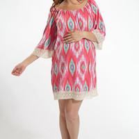 Fuchsia Multi-Color Printed Crochet Trim Maternity Dress