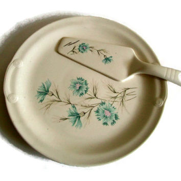 Mid Century, Taylor Smith Taylor, TST, Vintage China, Cake Plate and Server, Ever Yours Boutonniere, Blue Pink Tan White, Mid Century, Retro