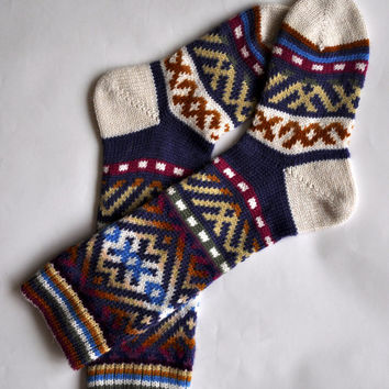 SPECIALLY THICK Scandinavian pattern rustic winter autumn knit knee-high blue orange yellow white pink wool socks CUSTOMMADE