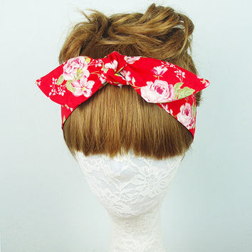 Red Floral headband, Hair Wrap, Roses headband, Hair Accessories, Women's headband, Twist turban, knot headband, yoga headband, headpiece