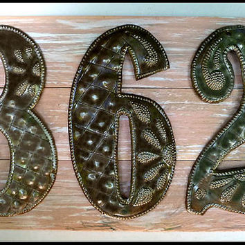 House Number Sign, 3 Address Numbers, Metal Numbers,  Address Sign, Pallet Wood, Shabby Chic, Reclaimed Wood, Address Plaque, A3-3-PK-7