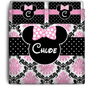 Mouse Inspired Pink Black Damask Custom Personalized Bedding  Set