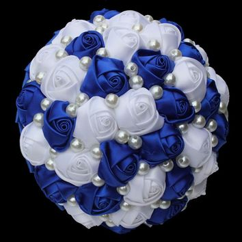 13 Color Choices Artificial Wedding Bouquets Handmade Flower Full Pearls Bridesmaid Bridal Wedding Bouquet