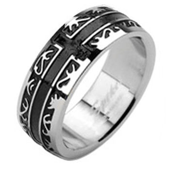 8mm Tribal Black IP with a Cross Band Men's Ring Stainless Steel