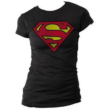 Superman Shield Logo DC Comics Licensed Women's Juniors T-Shirt - Black