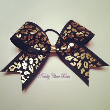 "Silver or Gold Foil Cheetah Print on Black 2 1/4"" Medium Cheer Bow"