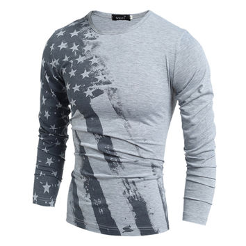 2016 Spring Fashion T-Shirt Long Sleeve T Shirt USA American Flag Printed T-shirts Fall Men Tshirt Fitness Camiseta H7751