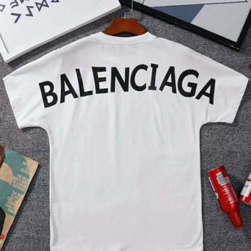 BALENCIAGA 2018 Summer New Back Print Short Sleeve Cotton T-Shirt F-Great Me Store white